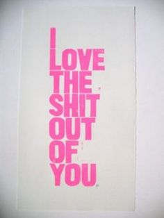 I love the shit out of you