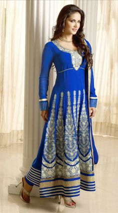 Bollywood Actress In Blue Long Length Anarkali Suit 2FD3166351