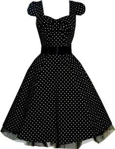 Online Sales eXperts (UK & Ireland) - OSX128.COM: Apparel: Pretty Kitty Fashion 50s Polka Dot Black Vintage Swing Prom Pin-Up Tea Dress