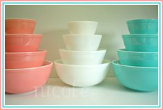 Pink Opal Turquoise Pyrex Mixing Bowls