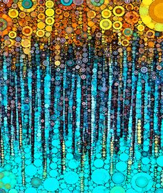 :: Party On :: by GaleStorm Artworks aqua teal turquoise Action Painting, Dot Art Painting, Abstract Art, Alcohol Ink Painting, Alcohol Ink Art, Klimt Art, Aboriginal Art, Pattern Art, Doodle Art