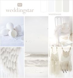 Simple and clean, this wedding color board is delicate in a Whitewash. #weddingplanning