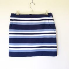 """Michael Kors blue strips skirt Like new. Size 8. Pocket on both sides. Waist:16.5"""", length: 16.5"""". Can be stretched a little. Material: 44% polyester, 28% nylon, 23% rayon, 5% spandex. MICHAEL Michael Kors Skirts Mini"""