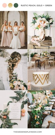 Rustic Peach, Gold & Green Wedding Mood Board