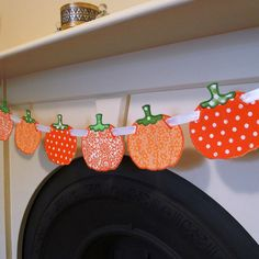 """Pumpkin Banner In The Hoop Banners Machine Embroidery Design Applique Pattern 3 sizes 4"""", 5"""", 6"""" all done In-The-Hoop Halloween Thanksgiving. $4.95, via Etsy."""
