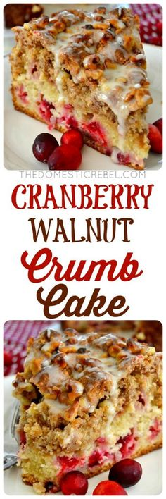 Cranberry Walnut Crumb Cake: a buttery, moist cake filled with bright and juicy cranberries, then topped with a crunchy, melt-in-your-mouth brown sugar, cinnamon & walnut streusel crumb. So impressive, so easy!