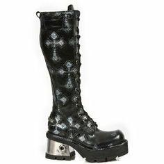 M.236-C5 New Rock Tall Black Cross Boots