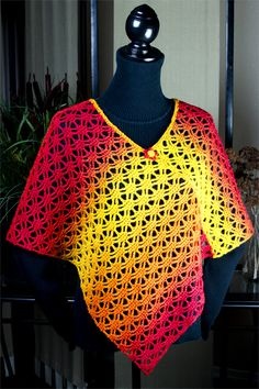 Kauni Poncho: crochet pattern available at www.TheCrochetArchitect.com.