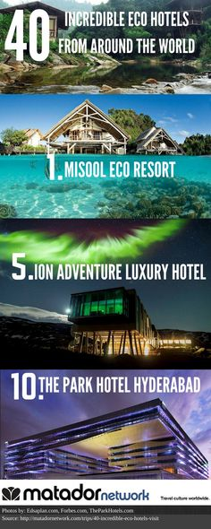 Looking for an amazing eco friendly hotel to stay in? From Raja Ampat, Indonesia, to Selfoss, Iceland - here are 40 amazing eco hotels that will make you do a double take.