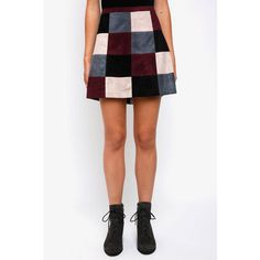 Abbeline Patchwork Suede Mini Skirt ($88) ❤ liked on Polyvore featuring skirts, mini skirts, black multi, zipper skirt, patchwork suede skirt, patchwork skirts, suede mini skirt and suede skirt