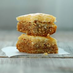 Top 10 Best Baklava Recipes - changing out the nuts (pistachios) or adding chocolate. But the best baklava ever is ground almonds and instead of syrup, use one pound of orange blossom honey! Mediterranean Diet Recipes, Mediterranean Dishes, Best Baklava Recipe, Macedonian Food, Food Tags, Comfort Food, Greek Recipes, Greek Desserts, Lebanese Recipes