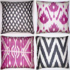 ikat pink and gray pillows