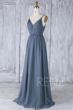 Bridesmaid Dress Dark Steel Blue Chiffon Dress Wedding Dress Spaghetti Strap Prom Dress Ruched V Neck Maxi Dress A Line Party Steel Blue Bridesmaid Dresses, Blue Chiffon Dresses, Affordable Bridesmaid Dresses, Beautiful Bridesmaid Dresses, Backless Prom Dresses, Long Wedding Dresses, Bridesmaid Gowns, Dress Wedding, Dress Prom