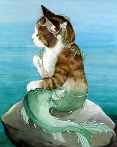 Pray to mermaid cat I Love Cats, Crazy Cats, Cute Cats, Adorable Kittens, Real Mermaids, Mermaids And Mermen, Costume Chat, Mermaid Cat, Art Carte