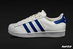 Adidas Superstar Foundation (FTWWHT/CROYAL/FTWWHT) Sizes: 36 to 46 EUR Price: CHF 130.-  #Adidas #Superstar #Foundation #AdidasSuperstar #Sneakers #SneakersAddict #PompItUp #PompItUpShop #PompItUpCommunity #Switzerland Order T Shirts, Text Style, Cute Beauty, Colour List, Personalized T Shirts, Casual Elegance, Custom T, Adidas Superstar, Colorful Shirts