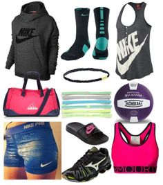 Volleyball practice outfit ~ I would take all of this . Neeeeeeed it now. Volleyball Shirts, Volleyball Practice, Volleyball Outfits, Cheer Outfits, Cheer Shirts, Basketball Outfits, Softball, Volleyball Bags, Volleyball Spandex