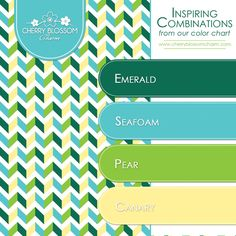 Color Combinations Emerald Green Seafoam Turquoise Blue Canary Yellow Cherry Blossom Charm