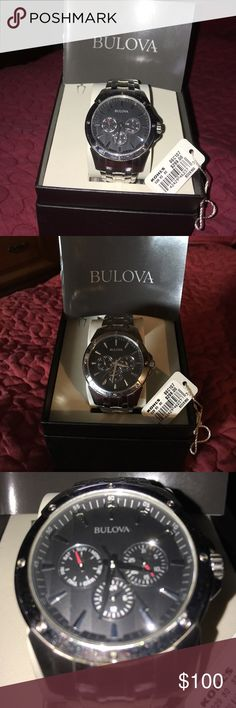 Bulova men's watch Classy men's Bulova timepiece. Lightly used. A few very minor scratches. Nothing major.  Shiny stainless steel. Fit for all occasions. Complete with box, manual, and extra band segments for your perfect fit. Bulova Accessories Watches