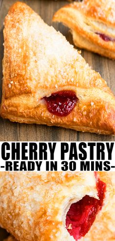 CHERRY TURNOVERS RECIPE- The best, homemade, quick and easy turnovers with puff pastry. They are light, flaky and filled with fresh cherry pie filling and topped with sanding sugar. Cherry Desserts, Cherry Recipes, Köstliche Desserts, Best Dessert Recipes, Sweet Recipes, Recipes With Cherries, Cherry Pie Filling Desserts, Recipes Dinner, Phyllo Dough Recipes
