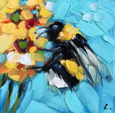 Reserved for Julie. Bumblebee painting Tiny original by LaveryART