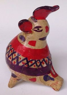 "Old vintage Mexican Pottery Tlaquepaque Santa Cruz Ceramic Whistle 5 7/8"" tall"