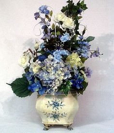 Blue Hydrangea Rose Trellis Floral Arrangement Centerpiece Cottage Chic by cabincovecreations on Etsy