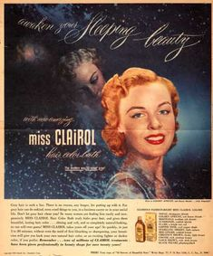 Clairol Incorporated's Miss Clairol Hair Color Bath – Awaken your Sleeping beauty with new amazing miss Clairol hair color bath. The modern way to cover gray Modern Hairstyles, Retro Hairstyles, Clairol Hair Color, Dyed Blonde Hair, Hair Dye, Vintage Hair Salons, Hair Facts, Covering Gray Hair, Beauty Ad