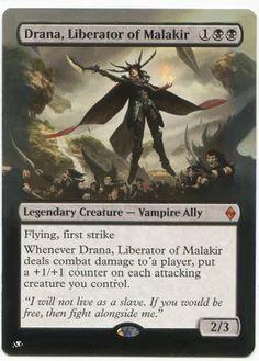Drana, Liberator of Malakir Magic the Gathering mtg Battle for Zendikar mythic rare vampire card Mtg Vampire, Black Vampire, Paladin, Magic The Gathering Karten, Black Deck, White Deck, Mtg Decks, Mtg Altered Art, Thing 1