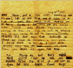 A little boy's letter to his big brother in Vietnam, 1970. This was written by a six year old to his older brother serving for the Australian Army, fighting in South Vietnam. Although the younger brother did not really understand why his brother was away, he knew that he enjoyed receiving his letters. #Letter