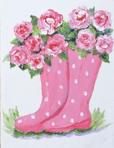 Pink Polka Dot Boot with Pink Roses - canvas painting Wine And Canvas, Spring Painting, Garden Painting, Paris Painting, Painting Flowers, Paint And Sip, Color Rosa, Paint Party, Pictures To Paint