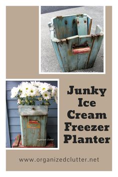 When I was given a broken down vintage ice cream freezer, my husband helped me make it into a fun junk garden planter! #containergarden #junkgarden #gardenjunk #vintageicecreamfreezer Garden Junk, Garden Planters, Garden Art, Freezer Organization, Clutter Organization, Garden Projects, Art Projects, Thrift Shop Finds, Vintage Ice Cream