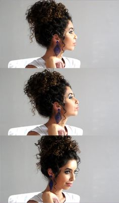 Hair Bun Curly Natural Curls Ideas For 2019 Curly Bun Hairstyles, Curly Hair Updo, Curly Wedding Hair, Curly Hair Care, Short Curly Hair, Hair Dos, Curly Hair Styles, Natural Hair Styles, Afro Hair