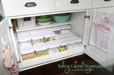 Throw your ingredients, mixing bowls, and pot holders all into one special cabinet for your favorite hobby. Consider choosing a cabinet near an outlet (so your mixer is never far from electricity) or near your oven for optimal sugar and flour access. See more at A Bowl Full of Lemons »