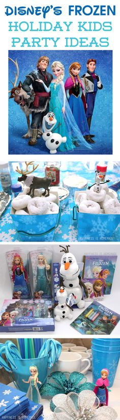 "Disney's FROZEN the movie makes a great theme for a holiday kids party! Just add ""snowball"" donuts, marshmallows, and LOTS of snowflakes!"