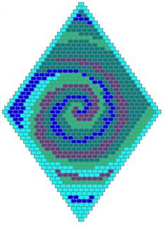 I live in Myrtle Beach, which sometimes gets hurricanes. I think the storms are very beautiful. the vortex shape was the inspiration for this brick stitch beading pattern. This diamond-shaped pattern makes an unforgettable pendant or it can be. Beaded Earrings Patterns, Seed Bead Patterns, Peyote Patterns, Beading Patterns, Cross Stitch Patterns, Knitting Patterns, Beading Ideas, Mosaic Patterns, Bracelet Patterns
