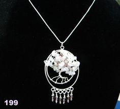Rose Quartz Tree of Life pendant with swarovski by Krystalins, $65.00