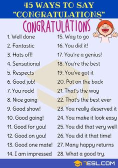45 Ways to Say Congratulations in English - 7 E S L