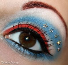 Captain America inspired make up, more photos http://www.talasia.de/2012/12/15/captain-america-make-up/