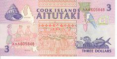 Cook Islands Aitutaki 3 Dollar Note
