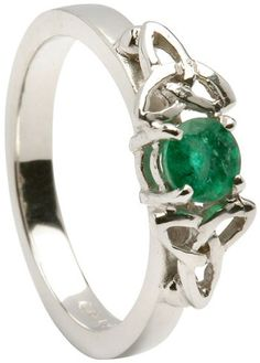 Trinity Engagement Ring with Emerald - 14k White Gold