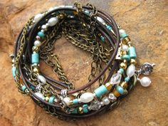 Boho Pearly  Silver Bronze/Gold and Turquoise by fleurdesignz...HAPPY MOTHER'S DAY..Treat Yourself!