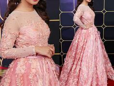 Handwork Embroidered Net Pink Maxi Dress For more details and real pictures visit: PakStyle. Pink Wedding Dresses, Maxi Dress Wedding, Chiffon Maxi Dress, Wedding Bouquets, Net Dresses Pakistani, Red And White Dress, Pink Maxi, Stylish Dresses, Gain Muscle
