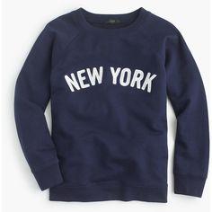 J.Crew New York Sweatshirt ($66) ❤ liked on Polyvore featuring tops, hoodies, sweatshirts, shirts, sweaters, graphic print top, graphic crewneck sweatshirt, vintage crewneck sweatshirt, vintage tops and crew neck top