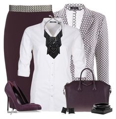 """""""Aubergine For The Office 1"""" by amybwebb ❤ liked on Polyvore featuring Riani, Dorothy Perkins, Mexx Metropolitan, Givenchy, Sergio Rossi, Deepa Gurnani, Lab, Pieces and ASOS"""