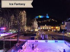 Winterzauber in Slowenien über dem Eislaufplatz von Ljubljana