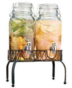 Elegant Set of Two Clear Glass Bail & Trigger Beverage Dispensers with Acrylic Spigots on Metal Stand ~ 3-liter Each ~ Home Bar & Party Centerpiece