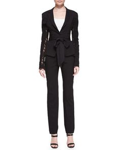 Lace-Detail Belted Blazer and Straight-Leg Pull-On Trousers by Donna Karan at Neiman Marcus.