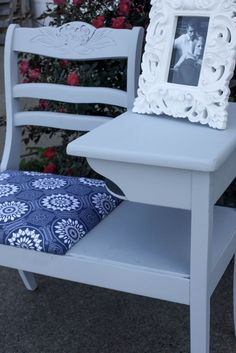 This gossip bench was an awesome find by my fabulous mother in law. All it needed was a little tender love and care, along with a fabulous fabric choice! Repurposed Furniture, Cool Furniture, Painted Furniture, Refinished Furniture, Furniture Refinishing, Distressed Furniture, Fashion Kids, Furniture Projects, Furniture Makeover