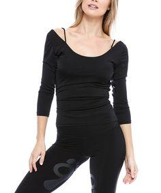 e7e318d227b9e Take a look at this Black Scoop-Neck Shoulder Strap Top today! Shoulder  Strap