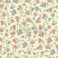Rose Red And Heavenly Blue Pattern Design Vector Pattern, Pattern Design, Vektor Muster, Himmelblau, Blue Design, Floral Flowers, Pastel Colors, Surface Design, Vintage Designs
